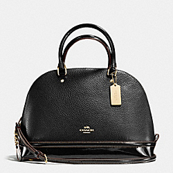 SIERRA SATCHEL IN PEBBLE AND PATENT LEATHERS - f54664 - IMITATION GOLD/BLACK