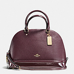 SIERRA SATCHEL IN PEBBLE AND PATENT LEATHERS - f54664 - IMITATION GOLD/OXBLOOD 1