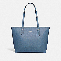 CITY ZIP TOTE - DENIM/SILVER - COACH F54670