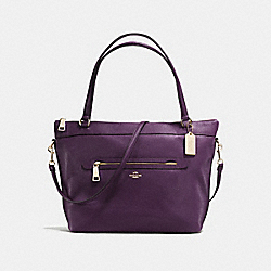 TYLER TOTE IN PEBBLE LEATHER - f54687 - IMITATION GOLD/AUBERGINE
