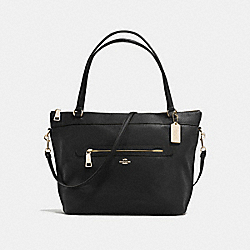 COACH TYLER TOTE IN PEBBLE LEATHER - IMITATION GOLD/BLACK - F54687