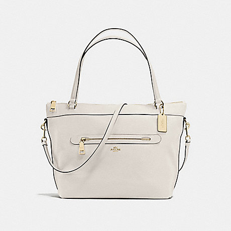 COACH f54687 TYLER TOTE IN PEBBLE LEATHER IMITATION GOLD/CHALK