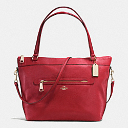 COACH TYLER TOTE IN PEBBLE LEATHER - IMITATION GOLD/TRUE RED - F54687