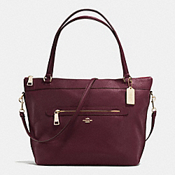 TYLER TOTE IN PEBBLE LEATHER - f54687 - IMITATION GOLD/OXBLOOD