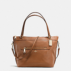 TYLER TOTE IN PEBBLE LEATHER - f54687 - IMITATION GOLD/SADDLE