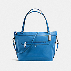 TYLER TOTE IN PEBBLE LEATHER - f54687 - SILVER/LAPIS