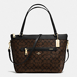 TYLER TOTE IN SIGNATURE - f54690 - IMITATION GOLD/BROWN/BLACK