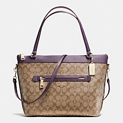 TYLER TOTE IN SIGNATURE - f54690 - IMITATION GOLD/KHAKI AUBERGINE
