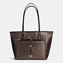 CITY TOTE WITH POUCH IN SIGNATURE - f54700 - IMITATION GOLD/BROWN/BLACK