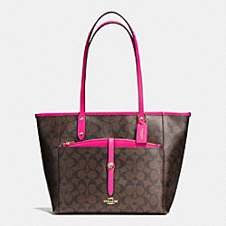 COACH CITY TOTE WITH POUCH IN SIGNATURE - IMITATION GOLD/BROWN/PINK RUBY - F54700