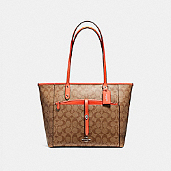 CITY TOTE WITH POUCH IN SIGNATURE COATED CANVAS - SILVER/KHAKI - COACH F54700
