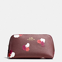 COSMETIC CASE 17 IN FIELD FLORA PRINT COATED CANVAS - f54705 - IMITATION GOLD/BURGUNDY MULTI
