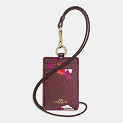 LANYARD ID CASE IN FIELD FLORA PRINT COATED CANVAS - f54707 - IMITATION GOLD/BURGUNDY MULTI