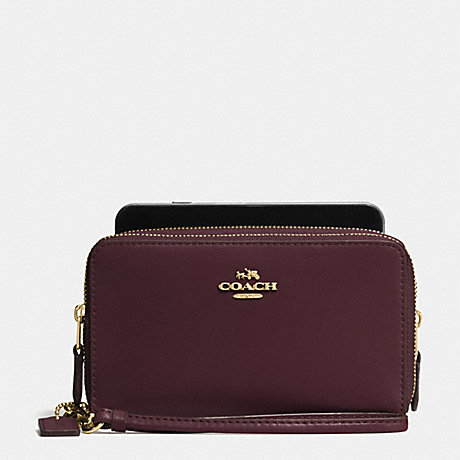 COACH DOUBLE ZIP PHONE WALLET IN REFINED CALF LEATHER - OXBLOOD - f54720