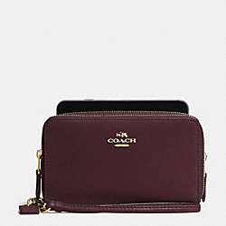 DOUBLE ZIP PHONE WALLET IN REFINED CALF LEATHER - f54720 - OXBLOOD