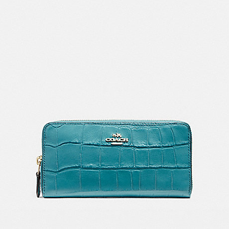 COACH ACCORDION ZIP WALLET IN CROCODILE EMBOSSED LEATHER - LIGHT GOLD/DARK TEAL - f54757