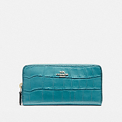 ACCORDION ZIP WALLET IN CROCODILE EMBOSSED LEATHER - f54757 - LIGHT GOLD/DARK TEAL