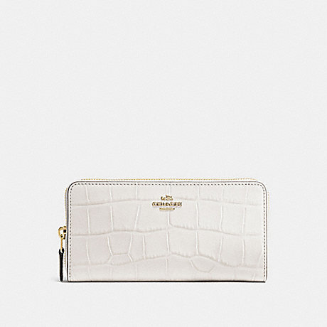 COACH ACCORDION ZIP WALLET IN CROC EMBOSSED LEATHER - IMITATION GOLD/CHALK - f54757