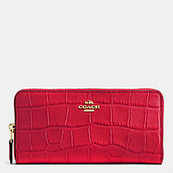 COACH ACCORDION ZIP WALLET - IMITATION GOLD/TRUE RED - F54757