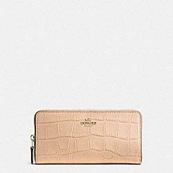 COACH ACCORDION ZIP WALLET IN CROC EMBOSSED LEATHER - IMITATION GOLD/BEECHWOOD - F54757