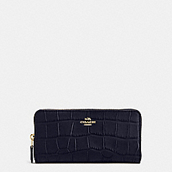 COACH ACCORDION ZIP WALLET IN CROC EMBOSSED LEATHER - IMITATION GOLD/MIDNIGHT - F54757