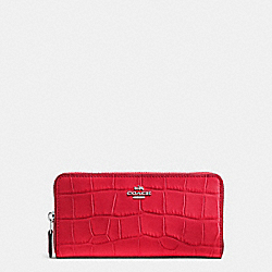 COACH ACCORDION ZIP WALLET IN CROC EMBOSSED LEATHER - SILVER/BRIGHT RED - F54757
