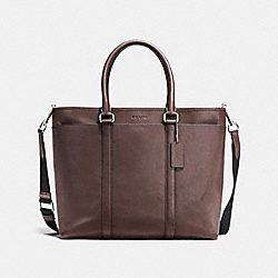 PERRY BUSINESS TOTE IN SMOOTH LEATHER - f54758 - MAHOGANY