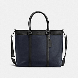 PERRY BUSINESS TOTE IN SMOOTH LEATHER - f54758 - MIDNIGHT/BLACK