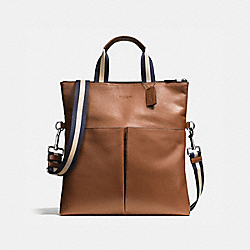 CHARLES FOLDOVER TOTE IN SMOOTH LEATHER - f54759 - DARK SADDLE