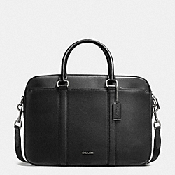PERRY SLIM BRIEF IN CROSSGRAIN LEATHER - BLACK - COACH F54763