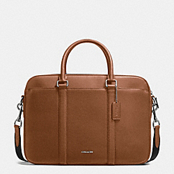 COACH PERRY SLIM BRIEF IN CROSSGRAIN LEATHER - DARK SADDLE - F54763