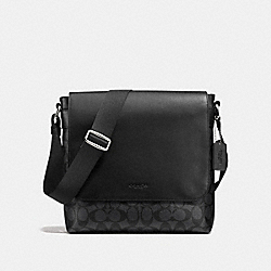 COACH CHARLES SMALL MESSENGER IN SIGNATURE - CHARCOAL/BLACK - F54771