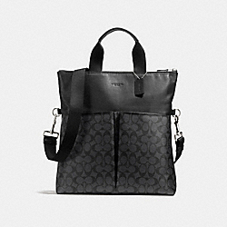 COACH CHARLES FOLDOVER TOTE IN SIGNATURE CANVAS - CHARCOAL/BLACK - F54774