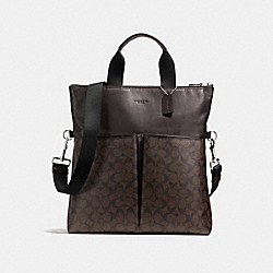 CHARLES FOLDOVER TOTE IN SIGNATURE - f54774 - MAHOGANY/BROWN