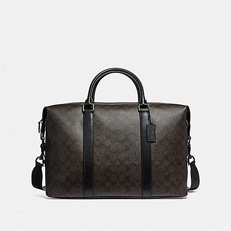 COACH f54776 VOYAGER BAG IN SIGNATURE CANVAS BROWN BLACK/BLACK/BLACK ANTIQUE NICKEL