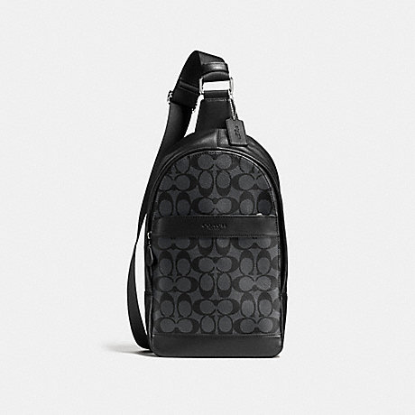 COACH CHARLES PACK IN SIGNATURE - CHARCOAL/BLACK - f54787
