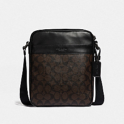CHARLES FLIGHT BAG IN SIGNATURE CANVAS - MAHOGANY/BLACK/BLACK ANTIQUE NICKEL - COACH F54788