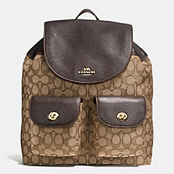 BILLIE BACKPACK IN OUTLINE SIGNATURE - f54795 - IMITATION GOLD/KHAKI/BROWN
