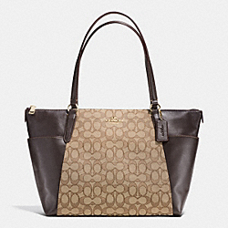 AVA TOTE IN OUTLINE SIGNATURE - f54797 - IMITATION GOLD/KHAKI/BROWN