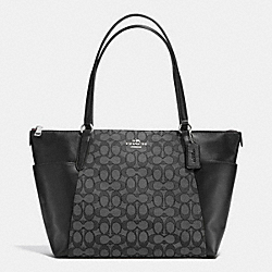 AVA TOTE IN OUTLINE SIGNATURE - f54797 - SILVER/BLACK SMOKE/BLACK