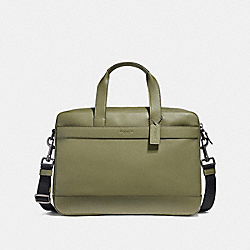 HAMILTON BAG IN SMOOTH LEATHER - BLACK ANTIQUE NICKEL/MILITARY GREEN - COACH F54801