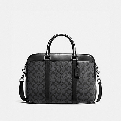 COACH PERRY SLIM BRIEF IN SIGNATURE CANVAS - CHARCOAL/BLACK - F54803