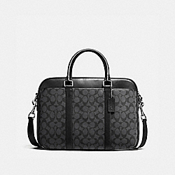 COACH PERRY SLIM BRIEF IN SIGNATURE - CHARCOAL/BLACK - F54803