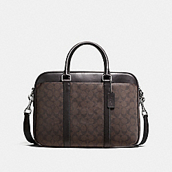 PERRY SLIM BRIEF IN SIGNATURE CANVAS - MAHOGANY/BROWN - COACH F54803