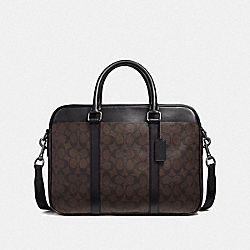 PERRY SLIM BRIEF IN SIGNATURE CANVAS - MAHOGANY/BLACK/BLACK ANTIQUE NICKEL - COACH F54803