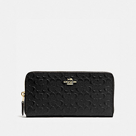 COACH ACCORDION ZIP WALLET IN SIGNATURE LEATHER - BLACK/LIGHT GOLD - F54805