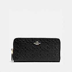 COACH ACCORDION ZIP WALLET IN SIGNATURE DEBOSSED PATENT LEATHER - IMITATION GOLD/BLACK - F54805