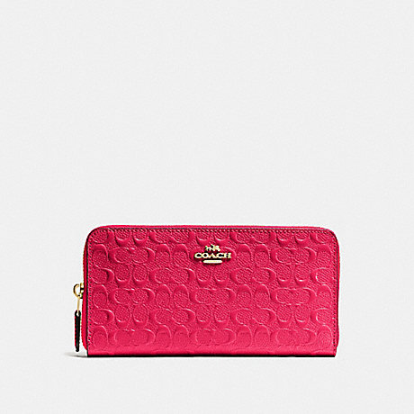COACH ACCORDION ZIP WALLET IN SIGNATURE DEBOSSED PATENT LEATHER - IMITATION GOLD/BRIGHT PINK - f54805