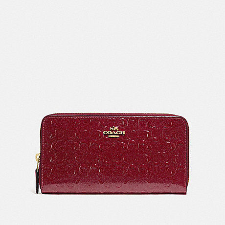 COACH ACCORDION ZIP WALLET IN SIGNATURE LEATHER - CHERRY /LIGHT GOLD - F54805
