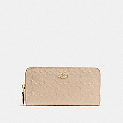 COACH ACCORDION ZIP WALLET IN SIGNATURE DEBOSSED PATENT LEATHER - IMITATION GOLD/PLATINUM - F54805